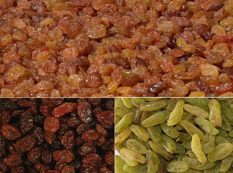 Dried grapes raisins of different varieties